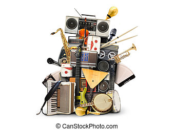 Music, musical instruments and vintage tape recorders
