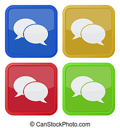 four square icons with speech bubbles - set of four colored...