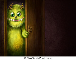 Green monster peering into the room