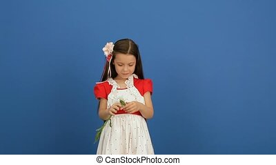 Girl On A Blue Background - Little girl breaks the petals of...