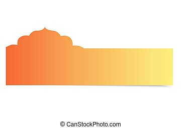 mosque shape blank orange greeting card isolated on white