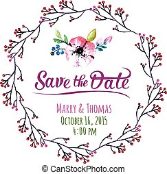 Vector invitation card with watercolor elements. Wedding...
