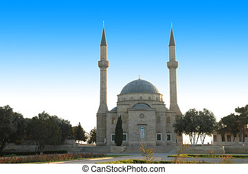 Mosque with two minarets in Baku, Azerbaijan
