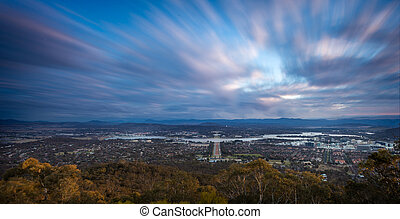 Canberra - A sunst view of Canberra, capital of Australia