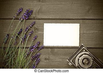 Vintage photo with lavender on wooden desk - Lavender...