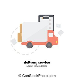 Shopping time. Vector Illustration. - Icon delivery of goods...