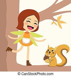 Happy Autumn Fairy - Cute happy autumn fairy standing on...