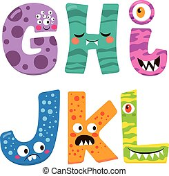 Halloween Monster Alphabet - Cute Halloween alphabet with...