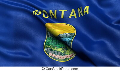 Montana state flag seamless loop - Montana state flag waving...