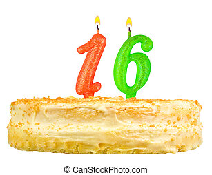 birthday cake candles number sixteen isolated