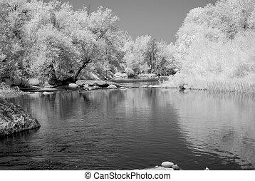 Mountain Desert River - River in the winter Arizona desert...