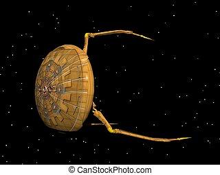 Spaceship - Deep space spaceship in a star field