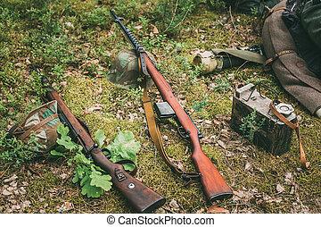 soviético, y, Alemán, Rifles, de, mundo,...