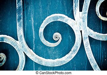 metal, Ornamento, ligado, portões,