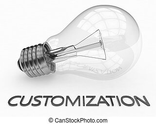 Customization - lightbulb on white background with text...