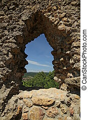 View Through Castle Window - View through a small window on...