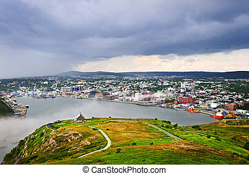 Cityscape of Saint Johns from Signal Hill in Newfoundland...