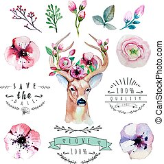Vector watercolor hand drawn floral set with deer. Colorful...