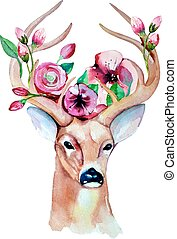 Deer watercolor. Save the date. eps 10. Wedding illustration...