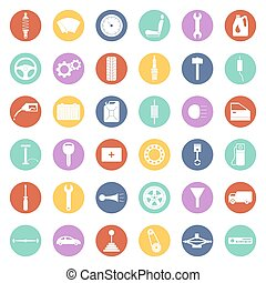 Set of car parts icons - Car service icons set, car parts...