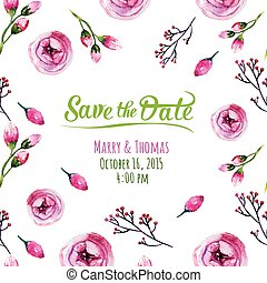 Vector invitation card with watercolor elements. Wedding collect