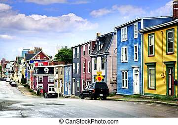 Colorful houses in St Johns - Street with colorful houses in...