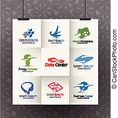 Corporate Logo Design - Set of Web Icons and vector logo