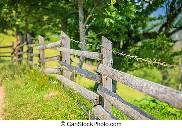 old fence in the mountains - old wood fence in the mountains