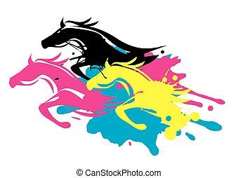 Print colors as running Horses - Three running horses as...