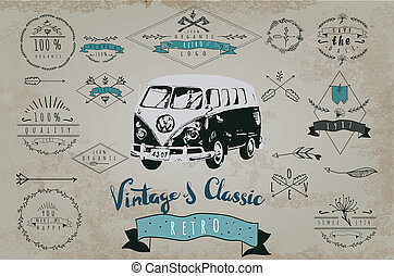 Vintage design for metal sign, baner, ad Classic Garage...