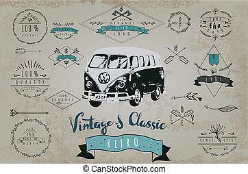Vintage design for metal sign, baner, ad. Classic Garage...