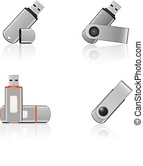 USB Flash Drives with reflection on white background
