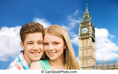 happy couple over big ben tower in london - travel,...