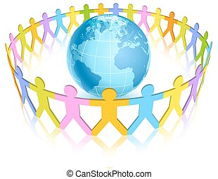 Circle of Colorful People figures around the world - A...