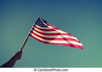 norteamericano, bandera, con, estrellas, y, rayas,...