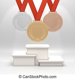 Medals and podium - Golden, silver and bronze medals with...