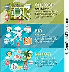 Vacation summer travel infographic. Booking, Fly and Summer....