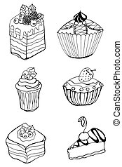 cake - Set of sketch cake element Vector illustration