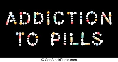 Addiction To Pills Pictogram - ADDICTION TO PILLS written...