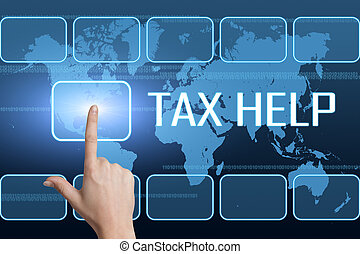 Tax Help concept with interface and world map on blue...