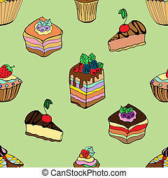 cakes and desserts - Seamless pattern set of different kinds...