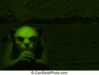 Green gargoyle - Spotlight effect on gargoyle figure toned...
