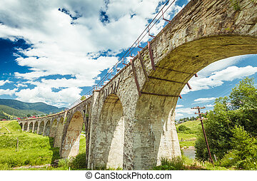 Old stone bridge on a background of blue sky