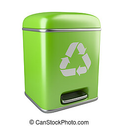 Closed green ecological trash can with recycling sign