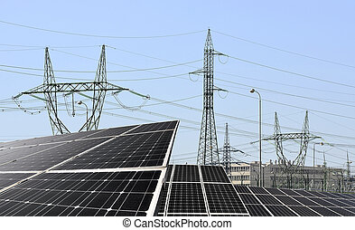 Solar panels with electricity pylons