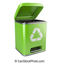 Open green ecological trash can with recycling sign