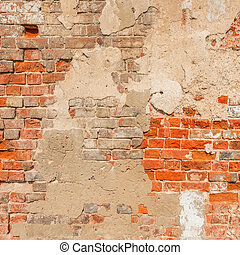 Red brick wall background - Ancient red brick wall...