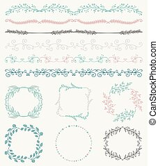 Colorful Hand Sketched Seamless Borders, Frames, Branches -...