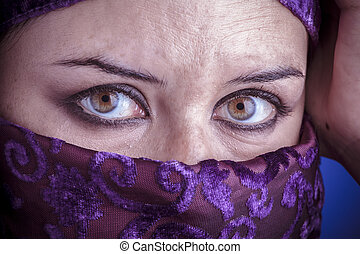 Princess, Beautiful arabic woman with traditional veil on...