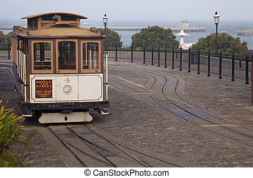 San Francisco cable car at Hyde Street turntable...